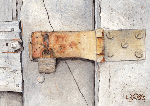 Lock Art Print featuring the painting Garage Lock Number Two by Ken Powers