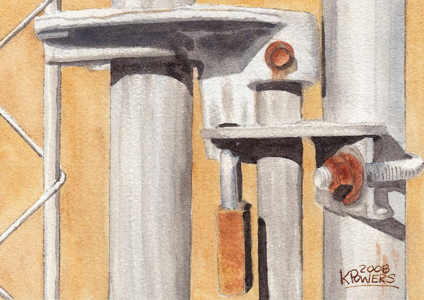 Gate Art Print featuring the painting Gate Lock by Ken Powers