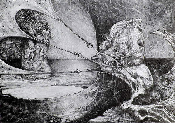 Surrealism Art Print featuring the drawing General Peckerwood In Purgatory by Otto Rapp