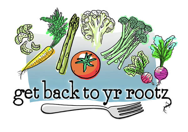 Vegetable Art Print featuring the digital art Get Back To Yr Rootz by Evie Cook