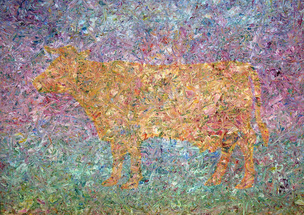 Abstract Art Print featuring the painting Ghost Of A Cow by James W Johnson