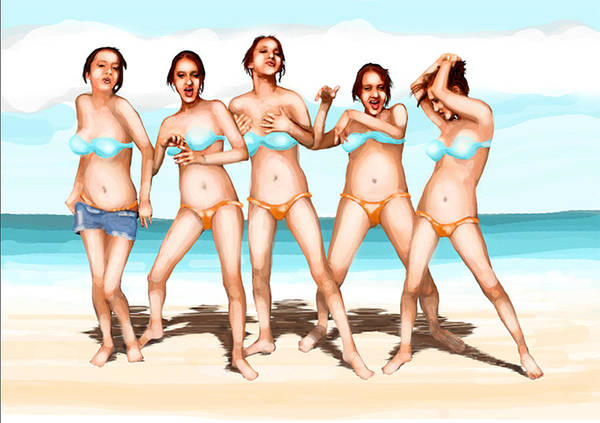 Same Girl In Bikini In Five Poses At Beach Art Print featuring the digital art Girls Dancing At The Beach by Leo Malboeuf