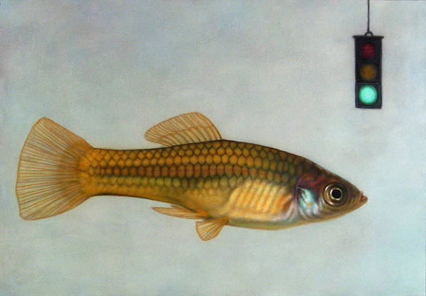Fish Art Print featuring the painting Go Fish by James W Johnson