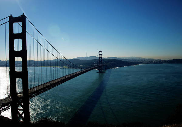 Golden Gate Bridge Art Print featuring the photograph Golden Gate Blues by Mary Capriole