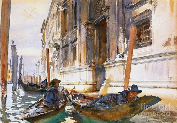 Gondoliers Siesta 1904 Art Print featuring the photograph Gondoliers Siesta 1904 by Padre Art