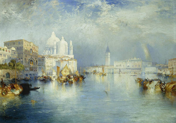 American Artist; Architectural; Architectural Feature; Blue; Boats; Buildings; Building Exteriors; Bystander; Calm; City;cloud; Cloudy; Color; Daytime; Docked; Dome; Europe; Grand Canal; Hudson River School;italy; Landmark; Monument; Moored; Oil Painting; Outdoors; Peaceful; People; Quiet; Reflection; Romantic Art; Romantic Era; Romanticism; Saint Mary Of Health; Santa Maria Della Salute; Sky; Stationary; Still; Tower; Tranquil; Urban; Venezia; Venice; Water Transport; Water Vessel; White Art Print featuring the painting Grand Canal Venice by Thomas Moran