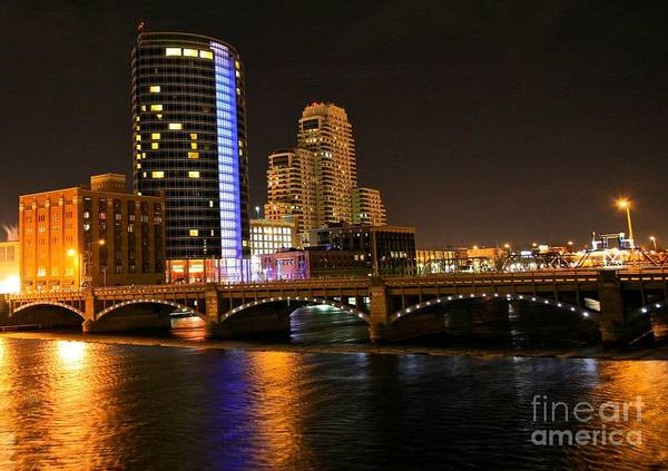 Tags:  West Michigan Photographs Art Print featuring the photograph Grand Rapids Mi Under The Lights by Robert Pearson
