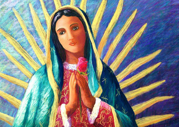 Guadalupe Art Print featuring the pastel Guadalupe With Rose by Candy Mayer