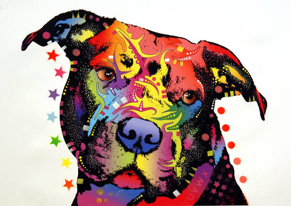 Dog Art Print featuring the painting Happiness Pitbull Warrior by Dean Russo