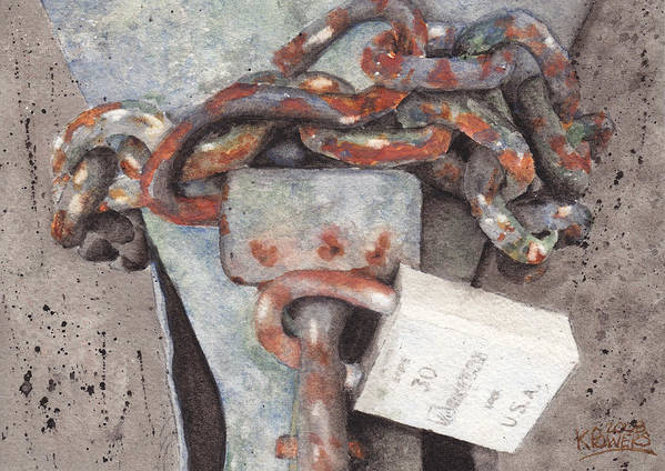Lock Art Print featuring the painting Hitch Lock by Ken Powers