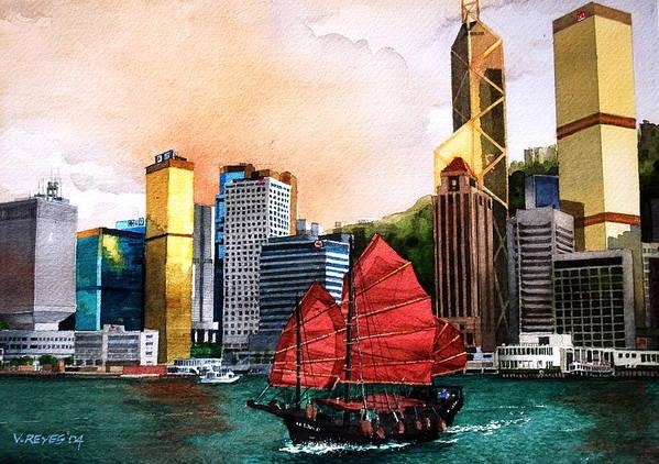 Hongkong Art Print featuring the painting Hong Kong by V Reyes