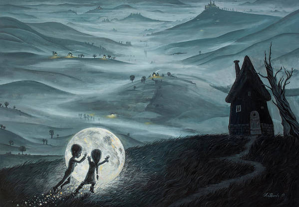 Kids Art Print featuring the painting I Love Dreaming Into That Dying Light by Adrian Borda