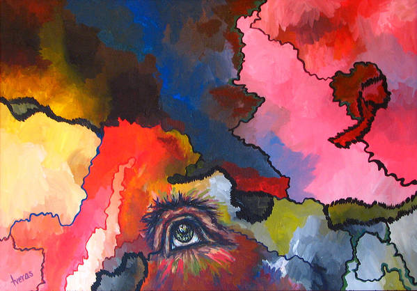 Original Art Print featuring the painting Indian Eye by Laura Tveras