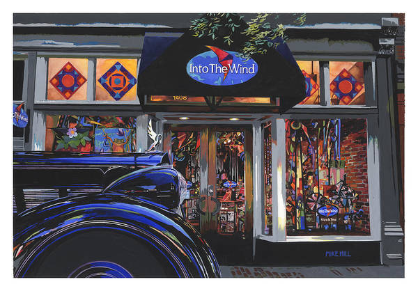 1937 Packard Car Automobile Black Kite Kites Wind Chime Store Front Gouache Boulder Colorado Art Print featuring the painting Into The Wind ... Packard by Mike Hill