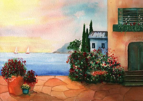 Italian Sunset Villa By The Sea Art Print featuring the painting Italian Sunset Villa By The Sea by Sharon Mick