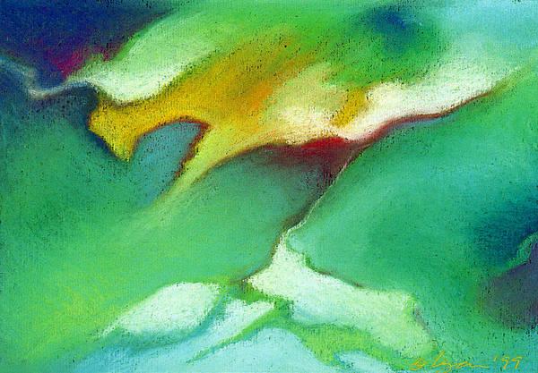 Pastels Art Print featuring the pastel Jade Ice by Angela Treat Lyon