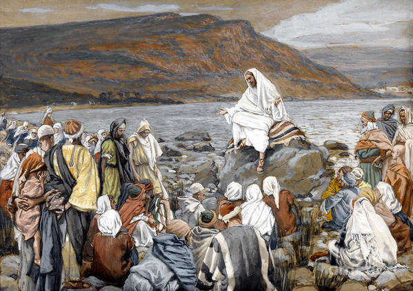 Tissot Print featuring the painting Jesus Preaching by Tissot