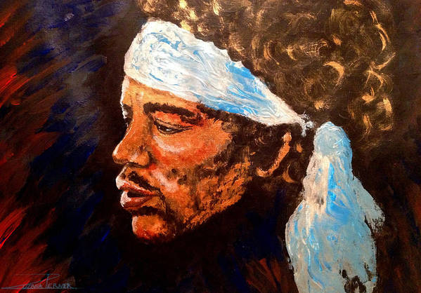 Jimi Hendrix Artwork Art Print featuring the painting Jimi by Zuzana Perner