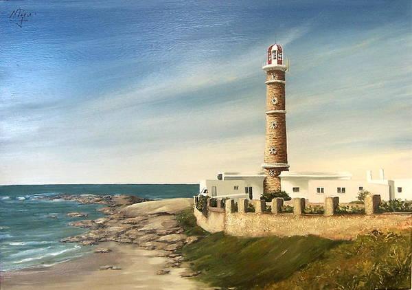 Landscape Seascape Lighthouse Uruguay Beach Sea Water Art Print featuring the painting Jose Ignacio Lighthouse Evening by Natalia Tejera