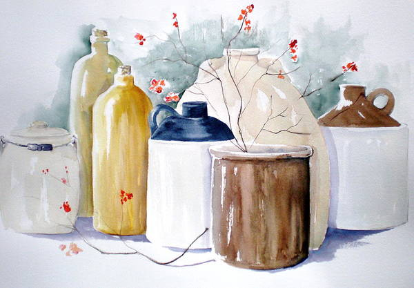 Bittersweet Print featuring the painting Jugs by Lisa Schorr