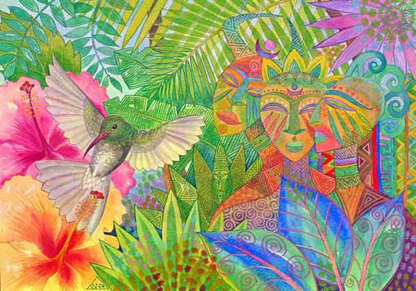 Tropical Exotic Jungle Wild Life Bird Spirit Masks Art Print featuring the painting Jungle Spirits And Humming Bird by Jennifer Baird