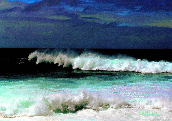 Waves Art Print featuring the photograph Kaluakoi Surf by James Temple
