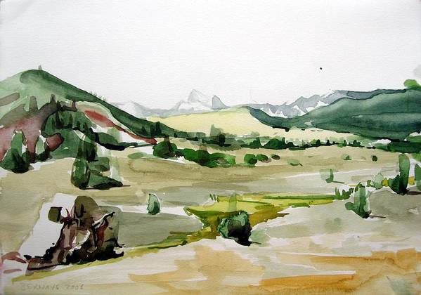 Landscapes High Desert Wildlife Nature River Blue Mountains Outdoors Airy Watery Art Print featuring the painting Kennedy Meadows The Dome Lands by Amy Bernays