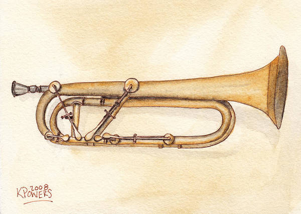 Trumpet Art Print featuring the painting Keyed Trumpet by Ken Powers