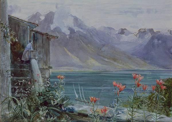 Ferritet Art Print featuring the painting Lake Geneva by John William Inchbold