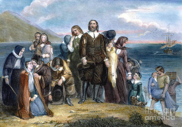 1620 Art Print featuring the photograph Landing Of Pilgrims, 1620 by Granger