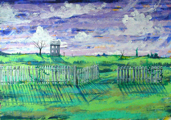Landscape Art Print featuring the painting Landscape With Fence by Rollin Kocsis