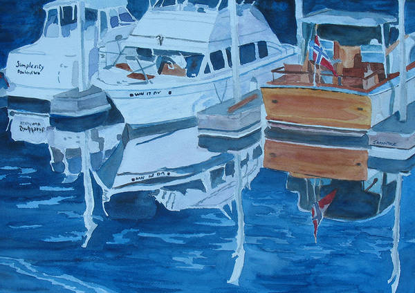 Boats Art Print featuring the painting Late Afternoon Reflections by Jenny Armitage