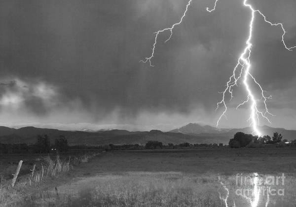 Lightning Art Print featuring the photograph Lightning Striking Longs Peak Foothills 5bw by James BO Insogna