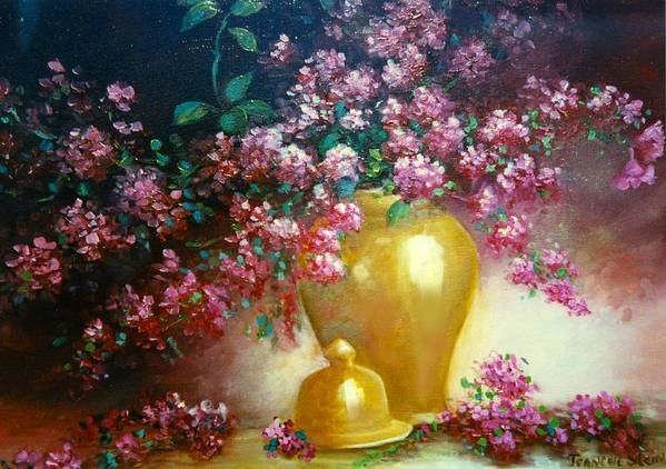 Lilacs Art Print featuring the digital art Lilacs In Gold Vase by Jeanene Stein