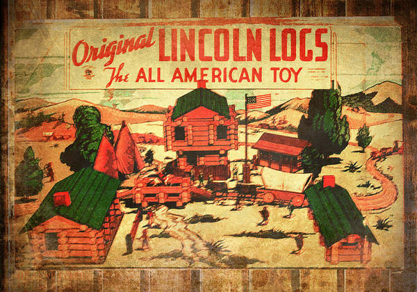 Lincoln Logs Art Print featuring the photograph Lincoln Logs Retro by Susan Vineyard