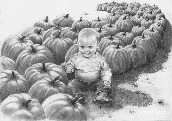 Charity Art Print featuring the drawing Little Pumpkin by Murphy Elliott
