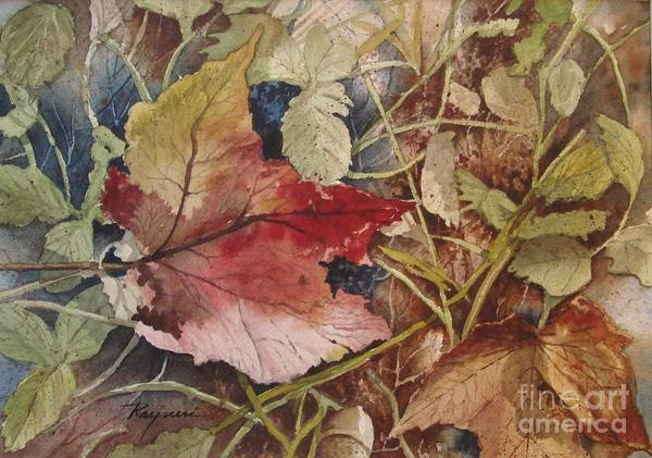 Maple Leaf Art Print featuring the painting Lonely Beauty by Oscar Rayneri
