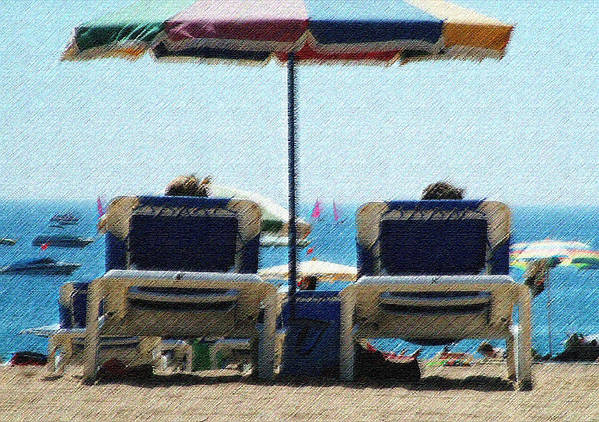 Sun Loungers Spain Art Print featuring the photograph Loungers by John Bradburn