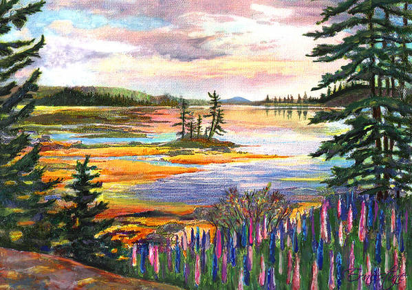 Lupines Art Print featuring the painting Lupine Sunrise by Ernestine Grindal