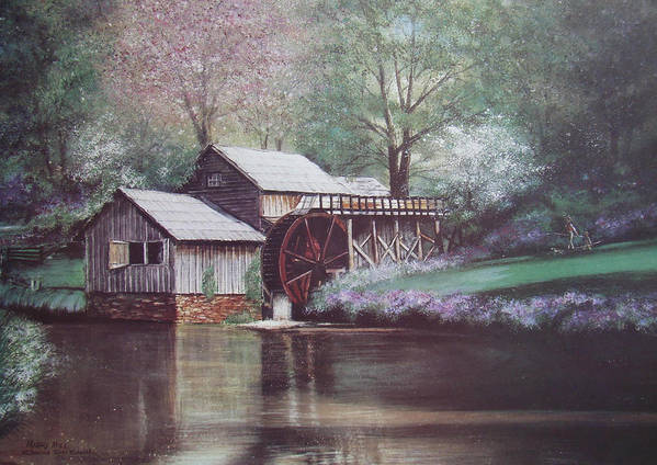 Charles Roy Smith Art Print featuring the painting Mabry Mills by Charles Roy Smith