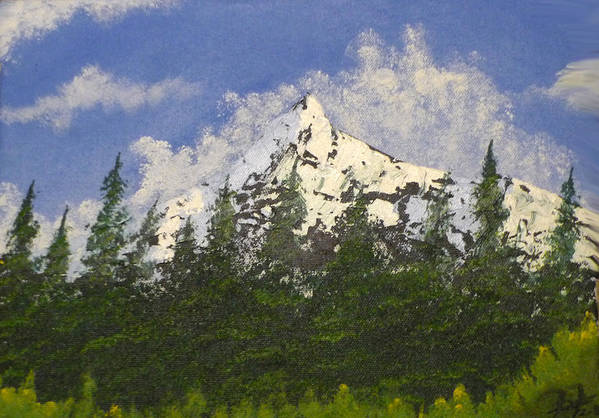 Mountains Art Print featuring the painting Majestic White by Christian Hidalgo