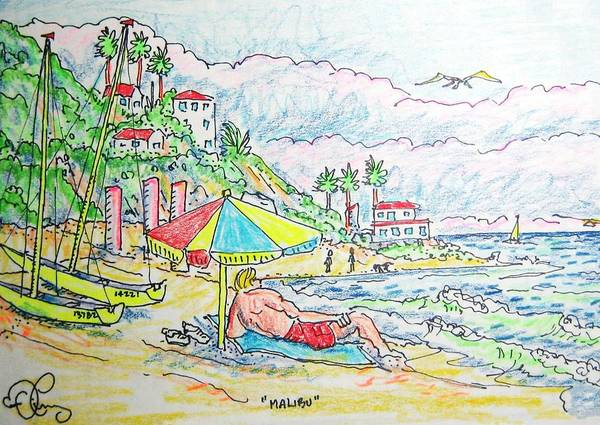 Beach Art Print featuring the painting Malibu by Robert Findley