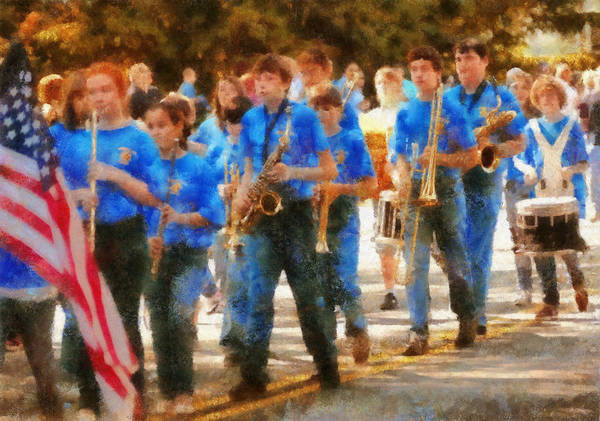 Suburbanscenes Print featuring the photograph Marching Band - Junior Marching Band by Mike Savad