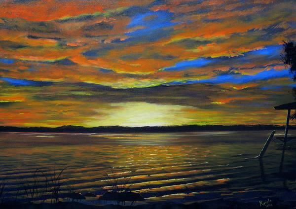 Sunset Art Print featuring the painting Merritt Island Sunset by Bruce Reigle
