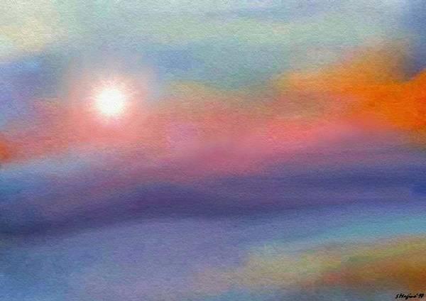 Morning Sun Sunrise Sky Skies Nature Landscape Water Trees Reflection Reflect Airbrush Modeh Ani Prayer Art Print featuring the digital art Modeh Ani Sunrise by Sher Magins