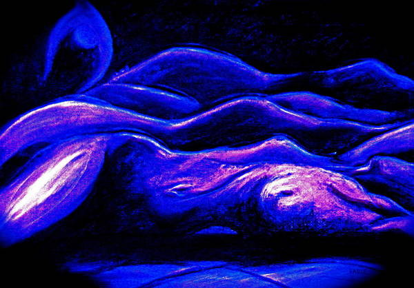 Female Nude Art Print featuring the painting Moon Dreams by Dan Earle
