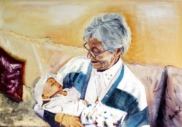 Portrait Art Print featuring the painting my granddaughter Leonie with her great grandmum by Helmut Rottler