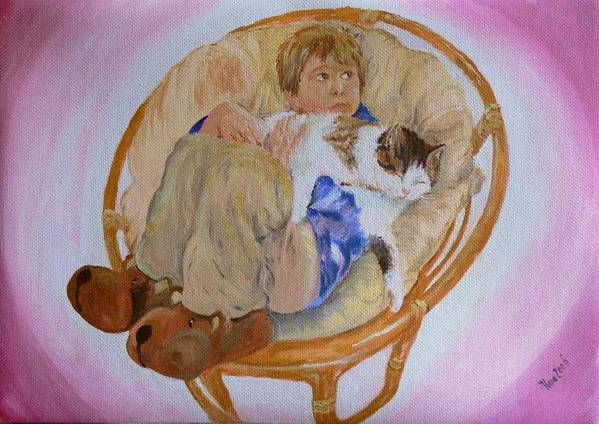 Portrait Art Print featuring the painting my grandson Pascal with his cat Paul by Helmut Rottler