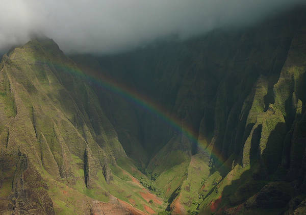 Hawaii Art Print featuring the photograph Napali Valley Rainbow - Kauai by Stephen Vecchiotti