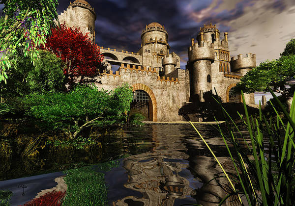 Castle Camelot Sky Duke Earl Knight Royalty Art Print featuring the mixed media Natalie's Castle by Steven Palmer